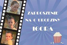 Składane, filmowe zaproszenie urodzinowe  ze zdjęciem: Kinomaniak    $1,2