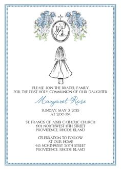 Printable 'Custom Sketch' Floral First Communion Invitation - Girl Twins/Triplets by CustomInkDesigns on Etsy https://www.etsy.com/listing/229087880/printable-custom-sketch-floral-first