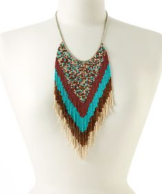 Love this Red Southwest Beaded Fringe Bib Necklace on #zulily! #zulilyfinds