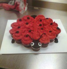 Ladybug Cupcake Pullapart | cakesandcupcakesbyjewels