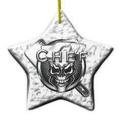 Silver Star Skull Chef Ornament by sdesiata @ www.zazzle.com/thechefshoppe*
