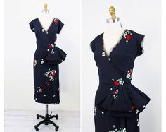 vintage 1940s 40s dress // Navy Blue and Red by RococoVintage, $246.00
