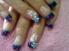 Uñas Fingernail Designs, Blue Nail Designs, Creative Nail Designs, Creative Nails, Acrylic Nail Designs, Elegant Nail Art, Pretty Nail Art, Beautiful Nail Art, Cool Nail Art