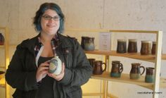 Sally Jenks displays her hand-made pottery in the art building at he Nor-East'r festival. Sunshine Music, Faculty And Staff, White Feathers, Music Covers, Ceramic Artists, Sally, Pottery, Ceramics, Studio