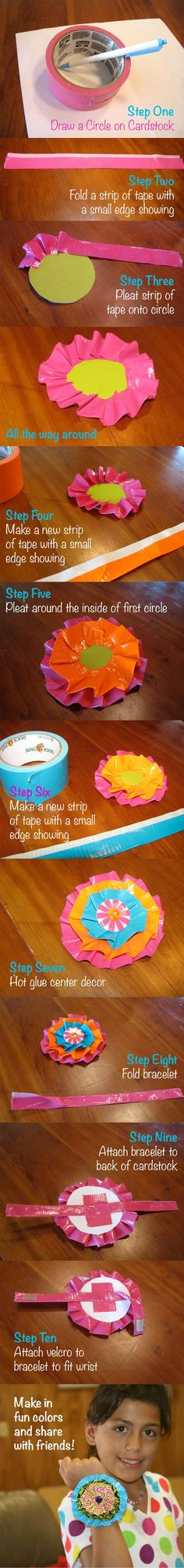 cool Make one, Share one. Duct Tape Flower Bracelet- Adapted from duct tape book Craz...