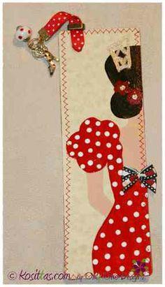 Marcapaginas pintado a mano, forrado con tela. Wild Book, My Bookmarks, Book Markers, Scrapbooks, Vintage Paper Dolls, Book Making, Fabric Art, Diy And Crafts, Handmade Gifts