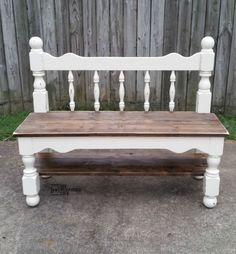 Woodworking Bench my-repurposed-life-distressed-white-twin-headboard-bench - make a twin headboard bench out of an old bunk bed. A sweet little bench like this is perfect for a mud room or entryway. Step by step tutorial. Furniture Projects, Furniture Making, Painted Furniture, Diy Furniture, Rustic Furniture, Modern Furniture, Antique Furniture, Furniture Refinishing, Office Furniture