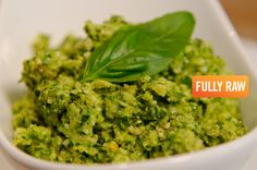 LOW FAT RAW VEGAN PESTO If you have been avoiding pesto because of its high oil content you will be delighted to try out this low fat raw vegan version by Kristina of Fully Raw! 2 Zucchinis 2 Cups Holy Basil 1 Large Handful Italian Parsley (About 1 Cup) Quarter Cup or Less of Pine Nuts Optional: Clove of Garlic Optional: Sprigs of Sage