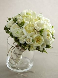 All white and green and the David Austin roses will give the bouquet a beautiful scent
