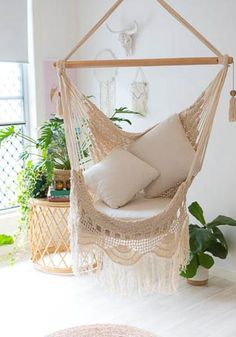 Maldives Hammock Chair - Relax outdoors or indoors in these gorgeous hand made crochet hammock chairs. You will feel like yo - Backyard Hammock, Diy Hammock, Indoor Hammock, Hammock Ideas, Hammocks, Hanging Hammock Chair, Outdoor Hammock Chair, Chair Yoga, Outdoor Lounge