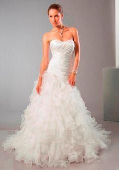A-line Sweetheart Shirred Bodice Ruffles Skirt Wedding Dress-wa0009, $274.95