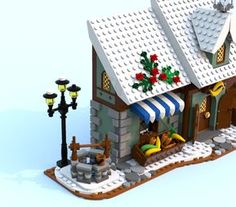 Winter-Gemüsehändler - New Ideas Lego Christmas Village, Lego Winter Village, Lego Village, Lego Gingerbread House, Gingerbread Christmas Decor, Christmas Crafts, Lego Design, Casa Lego, Lego Minifigure Display