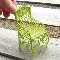Miniature Garden Chair in Lime Green for Fairy Gardens Too #miniaturegarden #miniatures