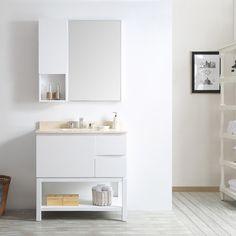 Banheiro criancas - Venzia 36-inch Single Vanity in White with Creama Marfil Marble Top with Mirror