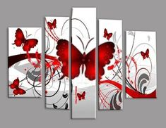 Get this cheap red butterflies multi--panel wall art for your home or office in Australia. Paintings in our gallery are hand painted with delivery nationwide. Multiple Canvas Paintings, Multi Canvas Painting, Canvas Wall Art, Red Butterfly, Panel Wall Art, Mural Art, Diy Art, Hand Painted, Artwork