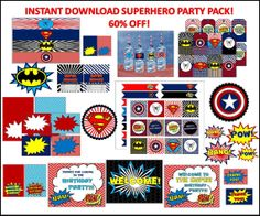 Shop for on Etsy, the place to express your creativity through the buying and selling of handmade and vintage goods. Superhero Birthday Party, 3rd Birthday Parties, Baby Birthday, Superhero Labels, Menu Cards, Game Cards, Party Signs, Diy Party Decorations, Party Packs