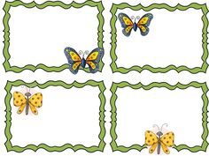 Name Labels, Name Tags, 3 Year Olds, Merian, Chenille, Paper Frames, Clip Art, Butterfly, Classroom