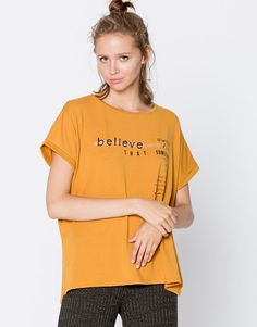 Asymmetric text T-shirt - T-shirts - Clothing - Woman - PULL&BEAR Albania
