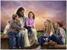 Jesus sitting with some modern day children laughing and having fun. Jesus loves children and he speaks of us having a childlike faith.