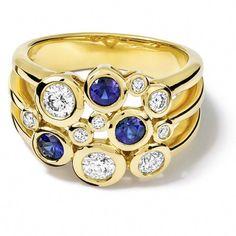 Cirkel Sapphire and Diamond Yellow Gold Ring - Cassandra Goad Diamond Jewelry, Jewelry Rings, Fine Jewelry, Jewellery, Diamond Rings, Jewelry Art, The Bling Ring, Yellow Gold Rings, Beautiful Rings