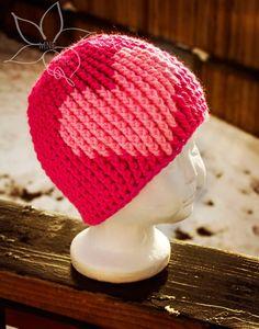 Bubblegum Heart Beanie | AllFreeCrochet.com