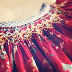 modern norwegian smocked christmas dress & bloomers - red- girls or baby. $85.00, via Etsy.