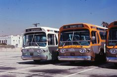 """RTD buses 5205 and 5400 parked at the Metro Division 6 Venice yard (ca. 1969). This type of bus was known as the GM """"New Look"""" or """"Fishbowl""""."""