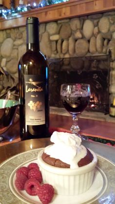 Laraneta No.5 paired with a chocolate souffle by the fireplace at Honey Oak House Bed & Breakfast in Paso Robles. Who's in?