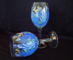 My Hand painted Bluebonnet wine glasses painted by...me:)