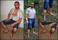 Flip Flop Sandals, Flip Flops, Male Feet, Moustaches, Sexy Feet, Barefoot, Handsome, Mens Fashion, Guys