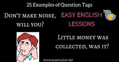 Example of Question Tags, Question tag example, English easy lessons