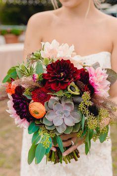 Fall bridal bouquet with dahlias, ranunculus, succulents, anemone, thistle... we ❤ this! moncheribridals.com