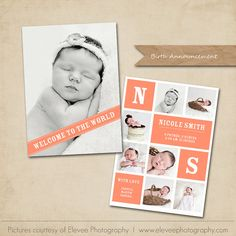 Birth announcement Card Template 5x7 flat card by MarketingMall, $7.00