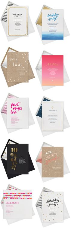 Quick Pick: Gold Foil Birthday Party Invitations, Party Invitations, Holiday Cards and more by Sugar Paper for Paperless Post via Oh So Beautiful Paper Invitation Card Design, Invitation Cards, Party Invitations, Invites, Design Typo, Print Design, Magazin Design, Peek A Boo, Bussiness Card