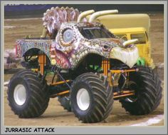 A monster truck is a pickup truck, typically styled after pickup trucks bodies, modified or purposely built with extremely large wheels and suspension. Monster Jam, Monster Truck Madness, Monster Truck Show, Monster Track, Big Monster Trucks, Auto Body Repair Shops, Truck Pulls, Rc Trucks, Big Wheel