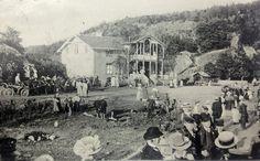 Folksomt:  Slik så det ut på Nesset i 1920-årene, folk som venter på rutebåten  til hovedstaden eller til et av de mindre stedene langs fjorden. Foto: Postkort i privat eie