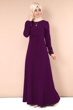 O.B.N. - Sevcan Kolyeli Elbise OBN285-S Mürdüm Beautiful Dress Designs, Most Beautiful Dresses, Elegant Dresses, Vintage Dresses, Muslim Dress, Hijab Dress, Anarkali Dress, Muslim Fashion, Hijab Fashion