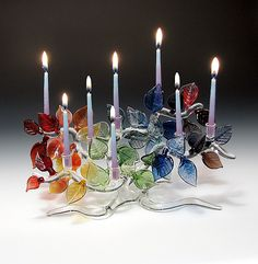 Tree of Life Menorah, Rainbow Leaves: Bandhu Scott Dunham: Art Glass Menorah | Artful Home