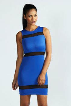 Sophie Mesh Insert Bodycon Dress at boohoo.com