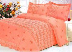 4-Piece Modern Orange Drill Duvet Cover Bedding Set