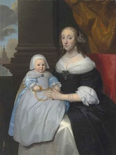 Isaac Luttichuys (attr.) portrait of a woman with her child in a blue dress and pinafore, holding a rattle, in an interior, a church beyond