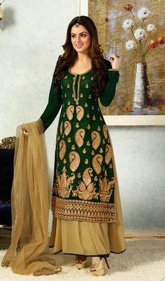 Salwar Kameez - Beige and Green Shade Georgette Churidar Suit