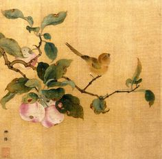 noiseman:  Bird Attracted to Ripe Fruit orBird and Fruits (果熟来禽图)byLin Chun,dated from Song dynasty (960-1279).
