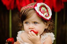 Strawberry Fields Baby Headband - Strawberry Shortcake Satin Flower - Photo Prop - Red White Lime - Cake Smash - Birthday Headband - Infant