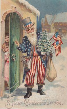vintage patriotic Christmas postcard ~ Uncle Sam as Santa! Vintage Christmas Images, Noel Christmas, Victorian Christmas, Vintage Holiday, Christmas Greetings, Christmas Postcards, Vintage Images, Christmas Mantles, Silver Christmas