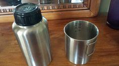 GEN3 Stainless Steel 32 oz. Bottle & Nesting Cup Set - Great for fire sterilizing water. 9oz