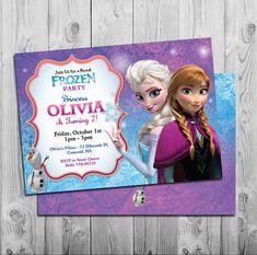Frozen invitation   Printable Frozen Birthday Party Invitations   Purple Blue Pink   Personalized   Anna, Elsa, Olaf