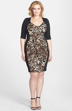 Brown sheath dress for plus size