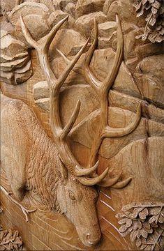 Elk - Carved Door Detail by Ganley Art