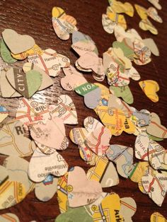 Vintage Map Page Confetti -- Wedding Decor -- Bridal Shower Decor -- Table Decoration -- Upcycled. $2.75, via Etsy.